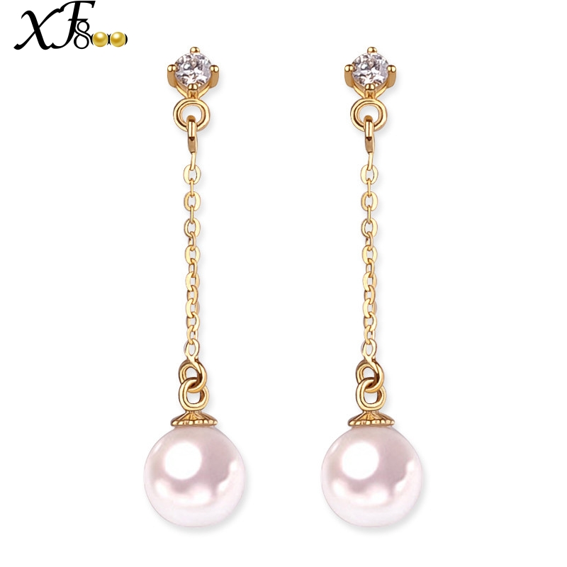 XF800 18K Gold Earrings Pearl Jewelry Yellow Au750 Fine Jewelry 6-6.5mm Round Akoya Pearl Drop Long Earrings Gift E126XF800 18K Gold Earrings Pearl Jewelry Yellow Au750 Fine Jewelry 6-6.5mm Round Akoya Pearl Drop Long Earrings Gift E126