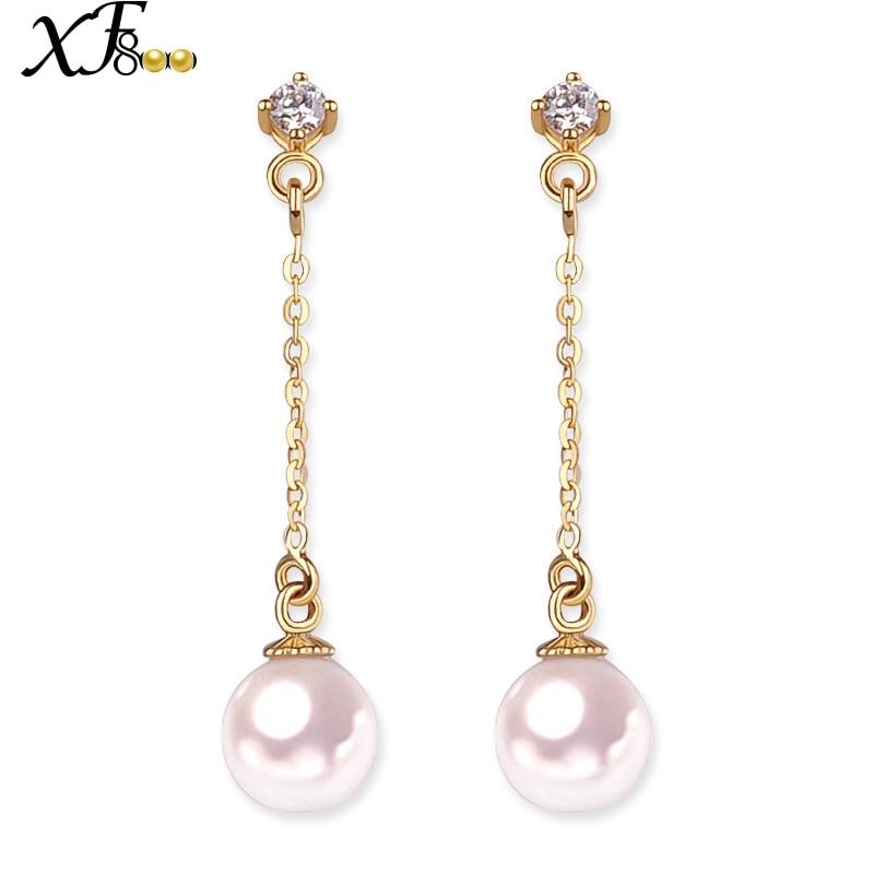 XF800 18K Gold Earrings Pearl Jewelry Yellow Au750 Fine Jewelry 6-6.5mm Round Akoya Pearl Drop Long Earrings Gift E126 faux pearl pompon round drop earrings