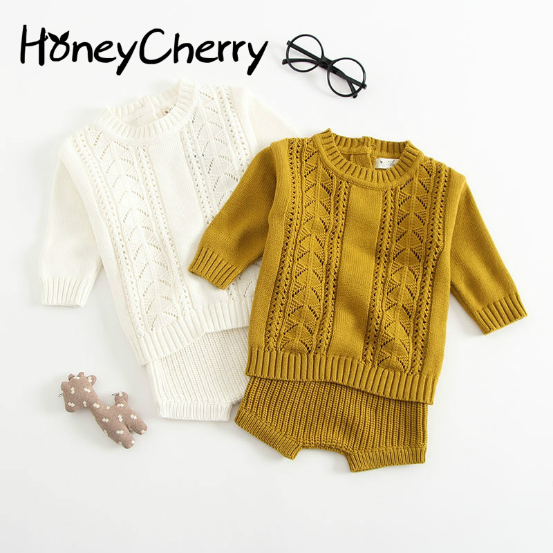 Boy and girl Cotton Knitted Suits Long Sleeves Hollowed Jacket Shorts Two Sweater Suits Girls Clothing Sets Kid Clothing Girl недорого