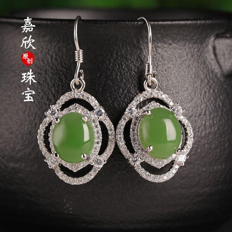 Boucles d'oreilles bijoux de mode 2019 offre spéciale Brinco Jade creux oreille crochet certificat 925 inséré Hetian Drop femelle oreilles ethniques