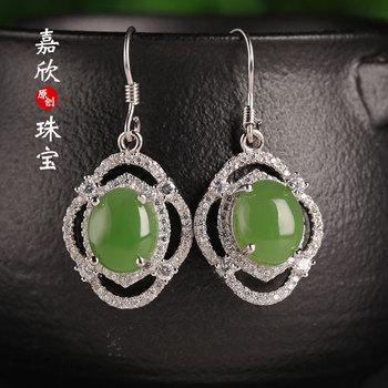 Earings Fashion Jewelry 2020 Offer Hot Sale Brinco Jade Hollow Ear Hook Certificate 925 Inserted Hetian Drop Female Ethnic Ears