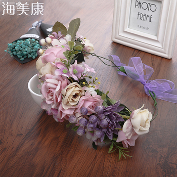 Haimeikang Lady Girl Sweet Princess Headband Floral Crown Flower Headband Wedding Party Hair Wreath Boho Bridal Headdress party glowing wreath halloween crown flower headband women girls led light up hair wreath hairband garlands gift