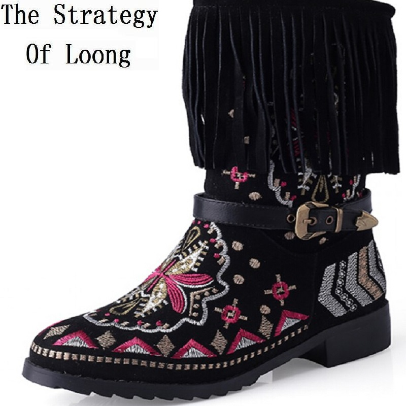 Autumn Winter Women Flats Genuine Leather Tassel National Style Round Toe Embroidery Buckle Half Boots Plus Size 34-43 SXQ0907 vintage embroidery women flats chinese floral canvas embroidered shoes national old beijing cloth single dance soft flats