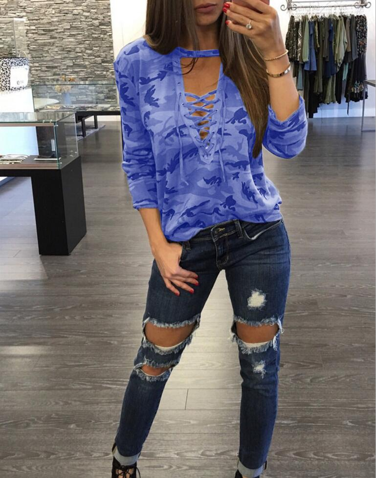 1fb96a90a7ee Kyliejenner Women Camouflage T Shirt Long Sleeve 2018 Spring Female Tees  Unicorn V Collar Tops Clothes Women Tops F119-in T-Shirts from Women's  Clothing on ...
