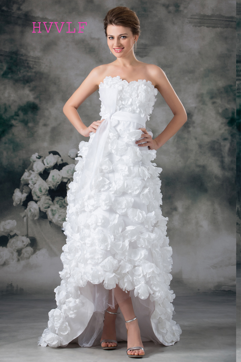 Short Front Long Back 2019 Wedding Dresses A-line Sweetheart Flowers Boho Cheap Wedding Gown Bridal Dresses Vestido De Noiva