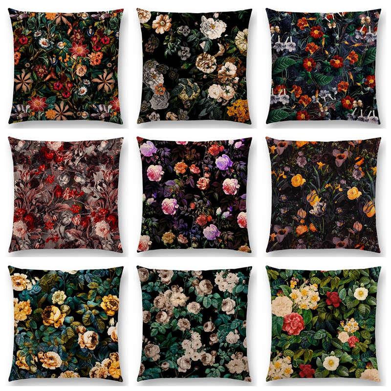 Almofada colorida para decoração, linda venda, estampa de jardim, floral, bonita, flores, rosa, peônia, almofada caseira, sofá, venda imperdível