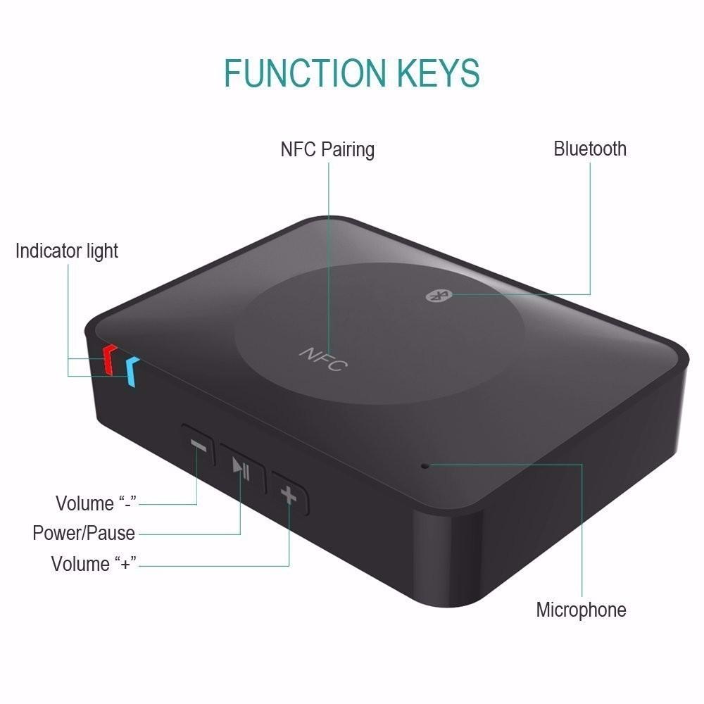 NFC Bluetooth Wireless Desktop Stereo Audio Music Receiver DVD Player Car Speaker USB Adapter  (19)