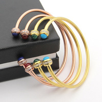 classic design 925 Sterling crystal Silver Rose Gold Colorful Stone Bangles For fashion Women Round Ball Bracelet Silver Jewelry