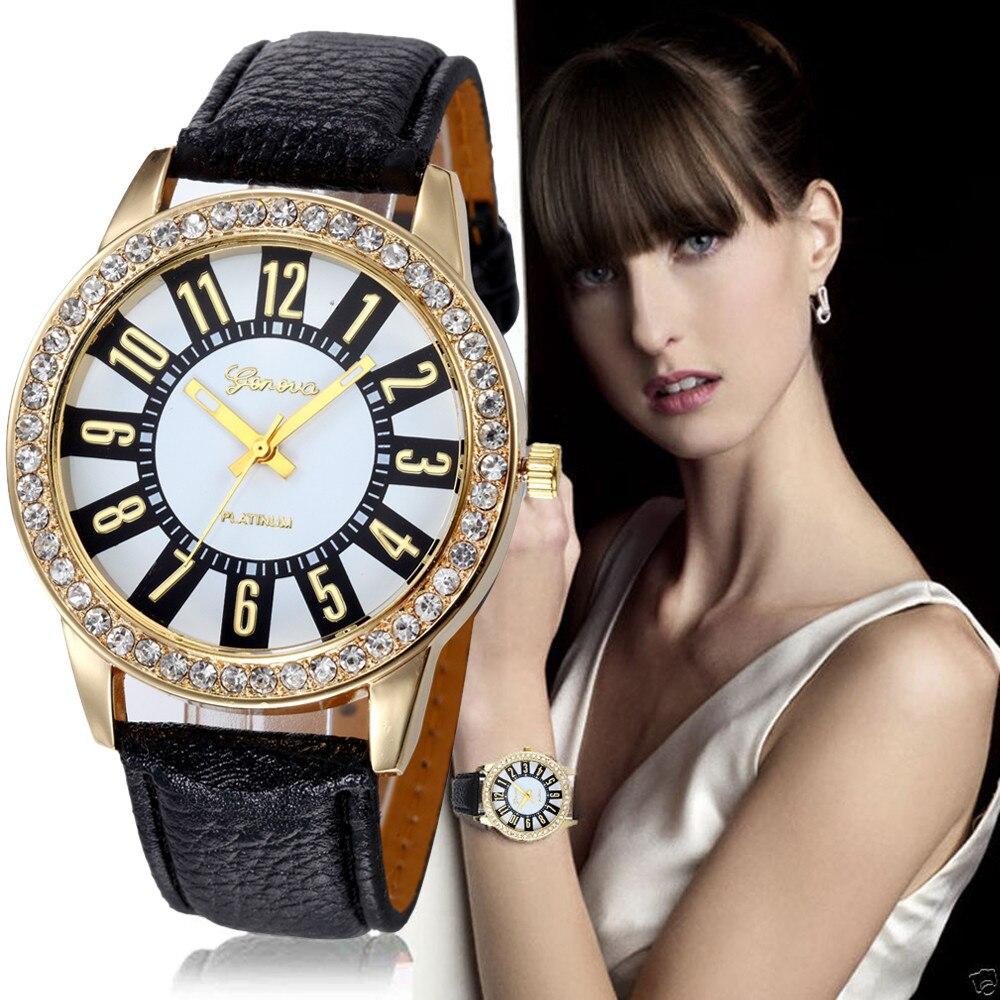 Milky  Fashion Women's Geneva Watches Stainless Steel Analog Leather Quartz Wrist Watch Reloj JAN25 migeer fashion man stainless steel analog quartz wrist watch men sports watches reloj de hombre 2017 20 gift