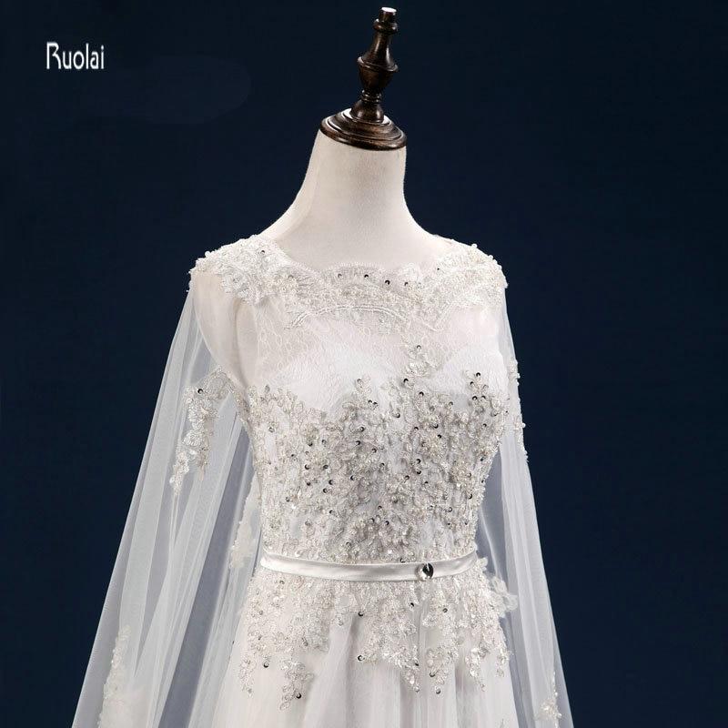 Vestido De Noiva Personalizat Mărgești Aplicații cu maneci lungi - Rochii de mireasa - Fotografie 5