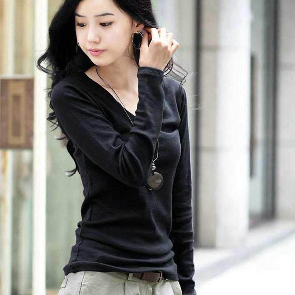 Milk Silk Long Sleeve V-neck Warm Elastic Slim Solid Color T-shirt Bottoming Shirt Autumn and Winter Women Clothing