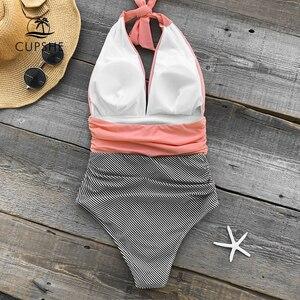 Image 5 - CUPSHE tutmak Accompained şerit tek parça mayo V boyun Backless Halter seksi Bikini 2020 bayanlar plaj mayo mayo