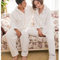 Lover Pajamas Set Winter Coral Fleece Men Pajamas Flannel Warm Women Sleepwear White Couple Pajamas