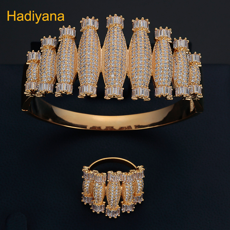 HADIYANA Bangle And Ring 2pc Luxury Design Blue And White Porcelain Style Set AAA CZ For