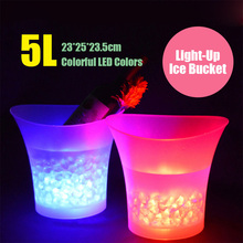 LED Ice Bucket 5L Large Capacity Colorful Light Champagne Wine Drinks Beer Cooler Bar Party