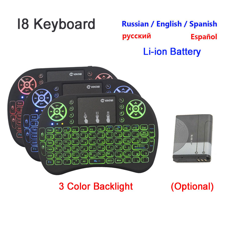Russian English Spanish 2.4GHz Wireless I8 Keyboard Touchpad Thai French Arabic 7 Versions For Android TV BOX Air Mouse PS3 PC