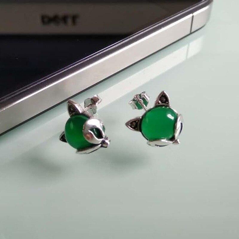 FNJ 925 boucles d'oreilles en argent renard pour femmes bijoux rouge Zircon vert pierre boucle d'oreille 100% S925 boucle d'oreille en argent Sterling