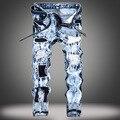 Luz azul de la manera mens ripped jeans pantalones slim fit hip hop denim apenada corredores masculinos novedad bordados agujero jean pantalones