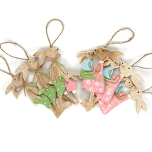 Easter decorations 6pcs wooden bunny Family home decoration accessories flame treatment tree lines rabbit for