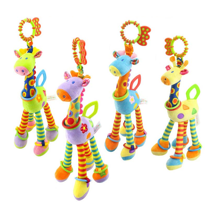 Baby Plush Infant development plush toys bed hanging baby rattles toy giraffe with bell ring infant teetherToys gift