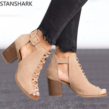 2019 Fashion Women Sandals Summer New Hot Female Fish Mouth Exposed Toe High-Heeled Romanesque Ladies Suede Shoes