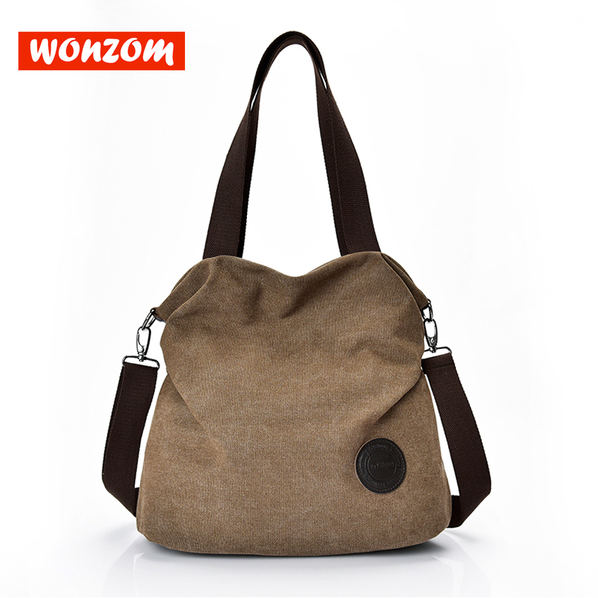 WONZOM New Canvas Shoulder Bags Fashion Casual Messenger Bags Large Capacity Lady Crossbody Bags Young Girl Students White Tote
