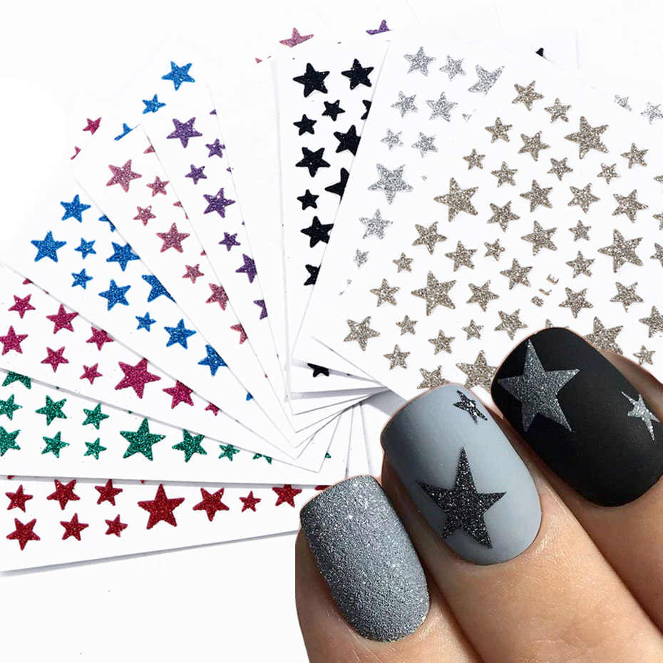 1pcs 3D Nail Slider Stars Stickers Glitter Shiny Decoration Decal DIY Transfer Adhesive Colorful Nail Art Tips Manicure JINC132