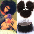 7A Mongolian Virgin Hair Afro Kinky Curly Lace Frontal Closure With Bundles 4Pcs Ear To Ear Lace Frontal Closure With Bundles