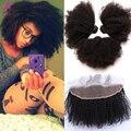 7A cabelo virgem Mongolian Afro Kinky Curly Lace Frontal encerramento com feixes 4 Pcs orelha a orelha Lace Frontal encerramento com Bundles