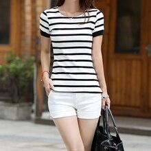 1Pc Summer Style Korean Casual Striped T-shirt Women T-shirt Tops Short Sleeve Slim Female T-Shirt For Women Shirt Ladies Wear