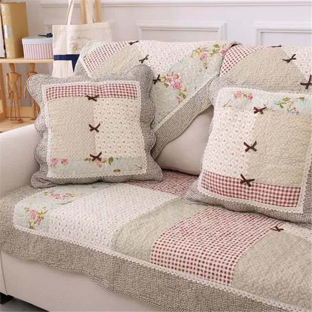 Patchwork Quilt Corner Sofa Cover Sectional Blanket Cotton Covers Throws Settee Cushion Fabric
