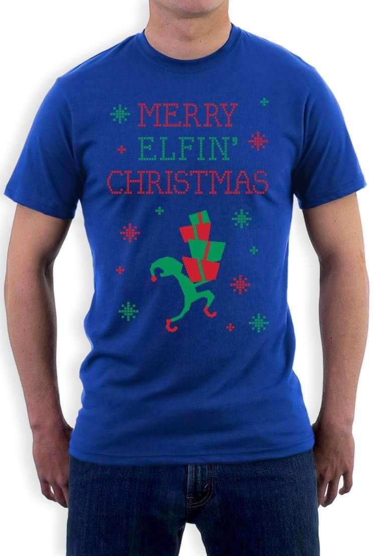 Merry Elfin Christmas - Funny Ugly Christmas Sweater T-Shirt Xmas Apparel Summer Men Clothing