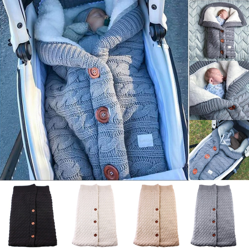 Puseky Newborn Baby Winter Wrap Swaddle Button Knitted Crochet Winter Warm Blanket Sleeping Bag Sleep Sack Stroller Wrap