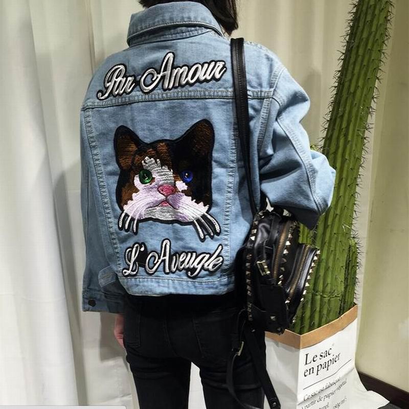 ad236db86ad Plus size Women Autumn Vintage Cat Embroidered Denim Jacket Lapel Long  Sleeve Single-breasted Fashion Basic Coat veste en jean