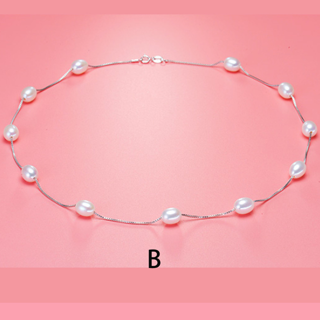 2016 new  Fashion Natural pearl jewelry choker necklace for women 925 sterling silver chain jewelry  pearl necklaces & pendants