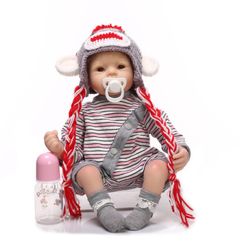 Nicery 20-22inch 50-55cm Bebe Reborn Doll Soft Silicone Boy Girl Toy Reborn Baby Doll Gift for Child Gray Woolen Hat Baby Doll