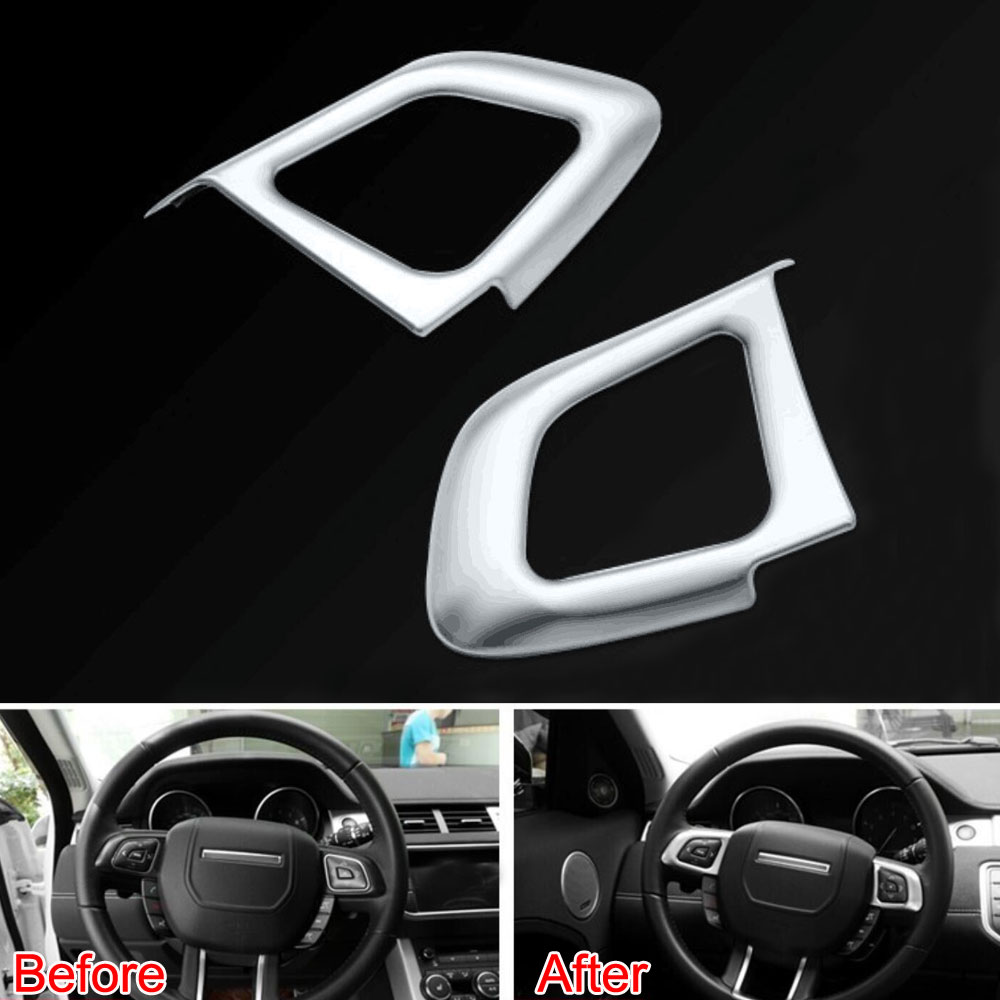 2pcs ABS Steering Wheel Button Frame Cover Trim Insert Garnished Bezel For 2012-2016 Land Rover Range Rover Evoque Car Styling