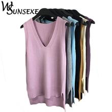 Knitted Sleeveless Loose V Neck Side Split Sweater PU27