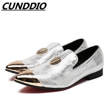 CUNDDIO Italian Leather Shoes Fashion Men Genuine leather Glitter Pointed Shoes For Men