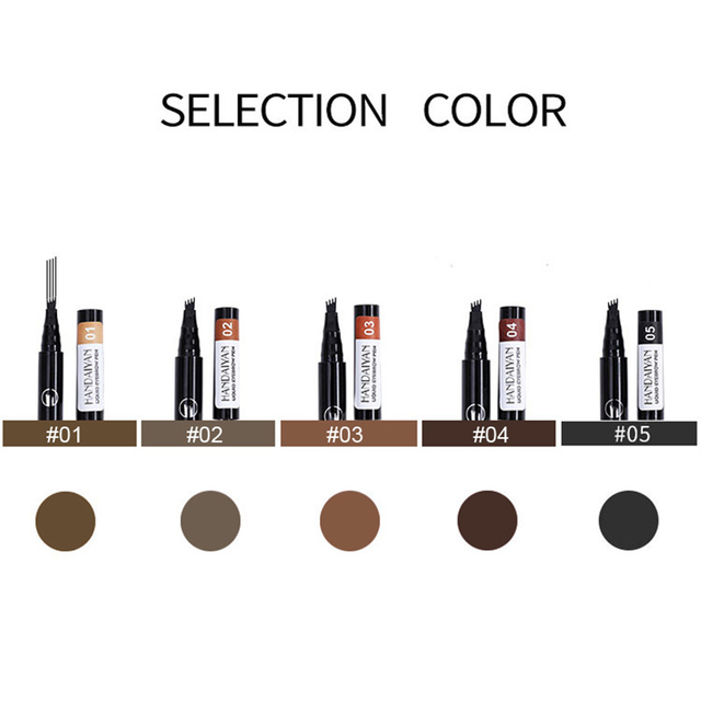 Waterproof Natural Eyebrow Pen Four-claw Eye Brow Tint Makeup 5 colors Eyebrow Pencil Brown Black Grey Brush Cosmetics Tatto 1