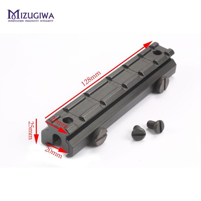MIZUGIWA Flat Top 6 ranuras 20mm Raiser Hight Base Picatinny W/Dovetail Weaver Rail Sight Scope montaje Riser elevar Caza