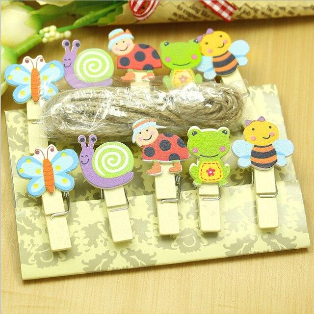 10 pz Cartone Animato Animale Clip di Legno con Corda di Canapa Carta Fotografic