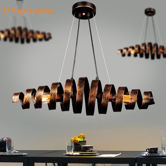 European creative loft industrial style wrought iron pendant lamp exhibition hall cafe bar spiral staircase led  WPL178