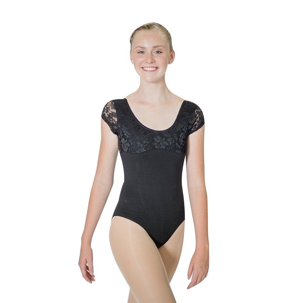 Atacado azul real algodão/lycra laço boné manga dança collant meninas ballet dancewear senhoras bodysuit