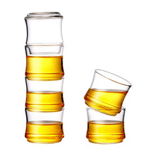 6pcs 70ml Clear Tea Cups Set Bamboo Shape Glass Portable Heat Resistant Single Wall Layer Whiskey Wine Cup