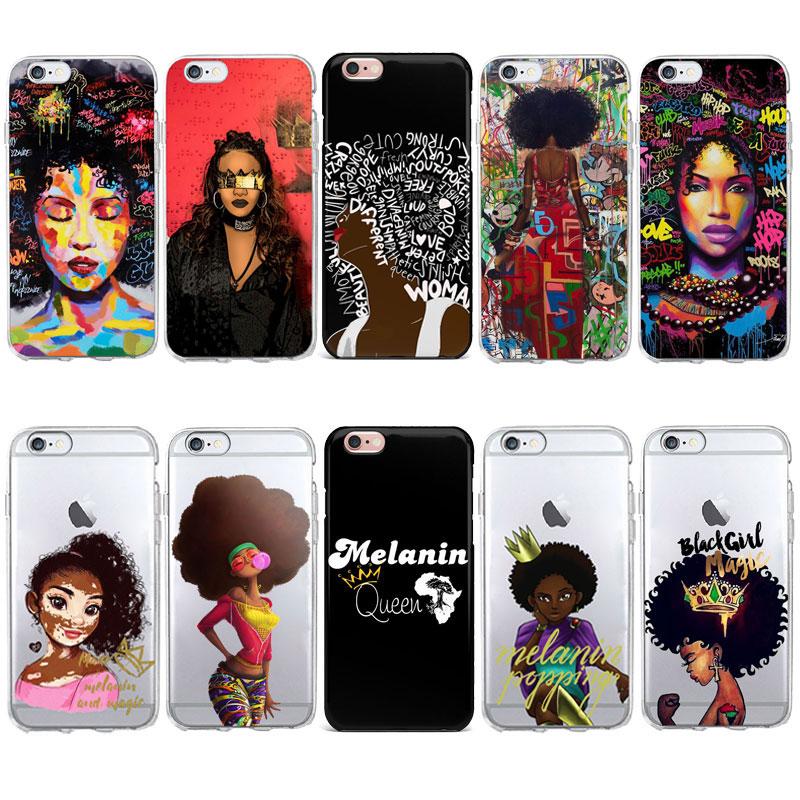 Melanin Magic African Black Girl Hair Art Case For Iphone -4366