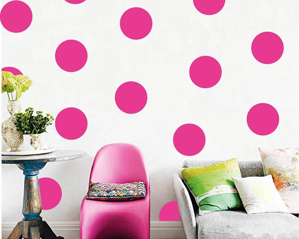 """36gab-10cm / 4 """"Rozā apaļie apļi ar velosipēdu vinila dekora uzlīme telpu dekorēšanai"""