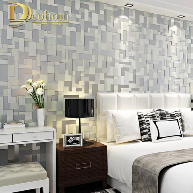 High Quality 3D Mosaic Lattice Wall Paper Europe Modern Embossed Flocking Non-Woven Living Room TV Background Wallpaper R598
