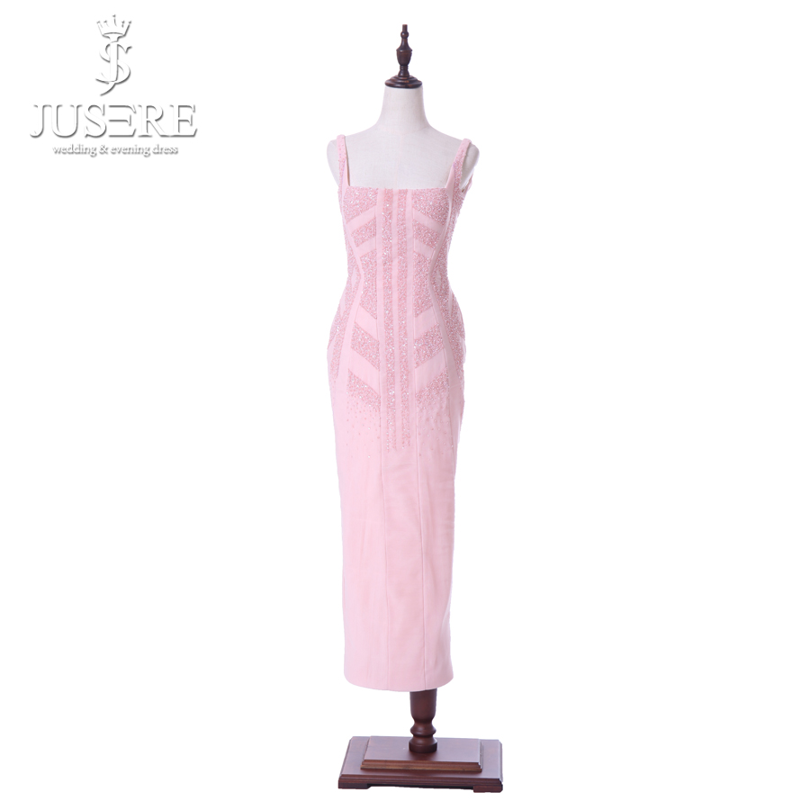 Pink Straps Square Neckline Tea Length Open Low Back Beads Pattern Special Cutting Short Women Casual Dress Prom Gowns 2018