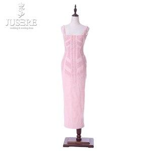 Image 1 - Rosa Correias Decote Quadrado Chá Comprimento Abrir Low Back Contas Padrão Especial de Corte Curto Mulheres Vestido Ocasional Vestido de Baile Vestidos de 2018